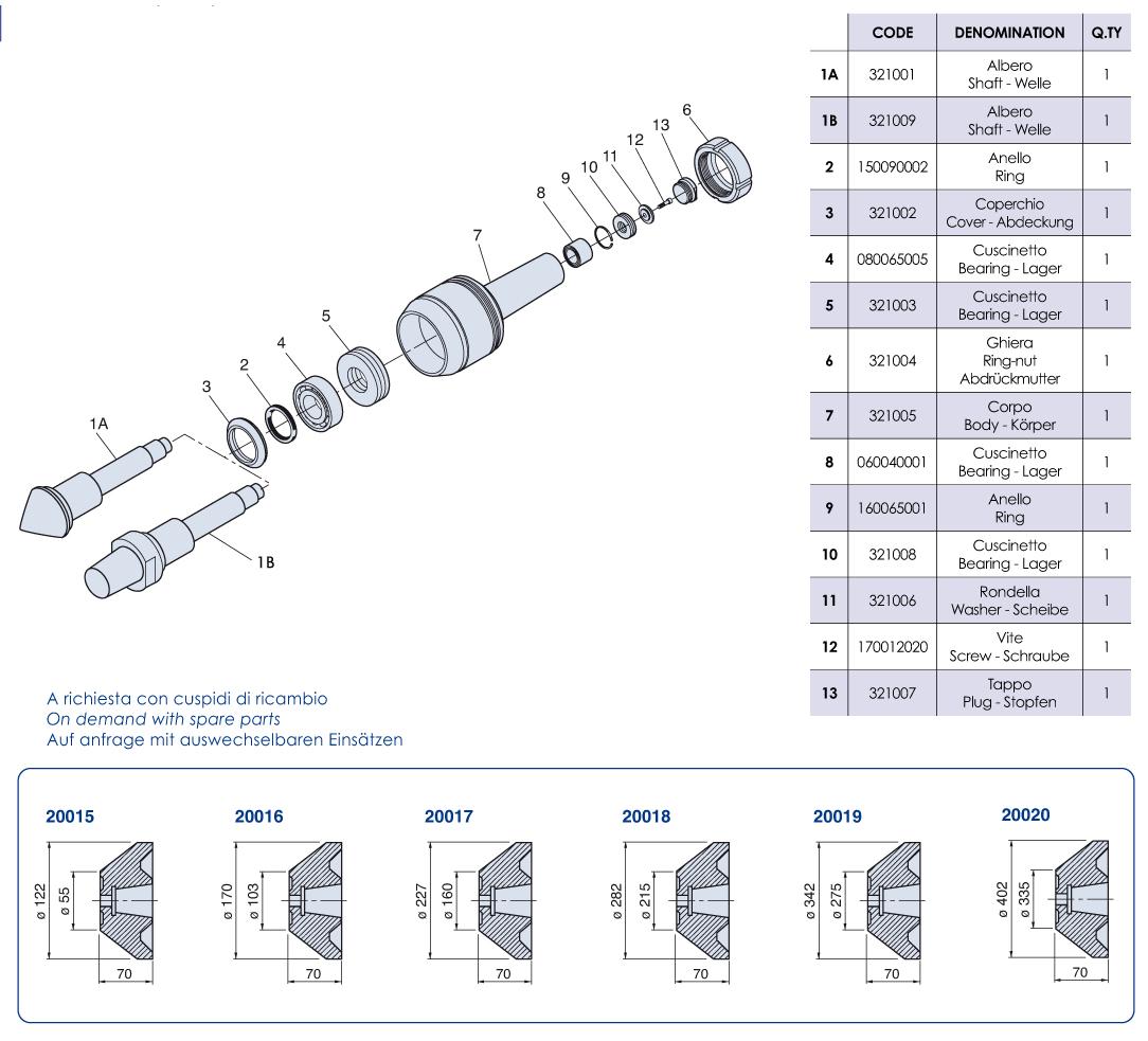 Mitlaufende Körnerspitzen Hohe Belastung - CSF/CM100 - NUOVA PTM