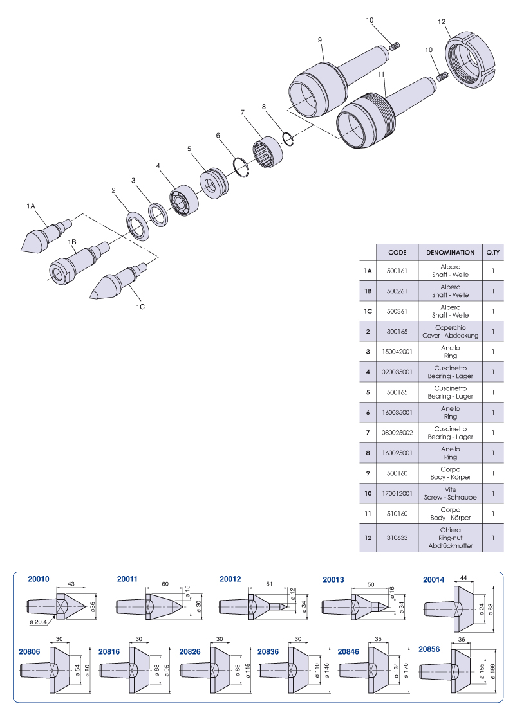 Rotating livecenters Medium loads - CNE6 - NUOVA PTM